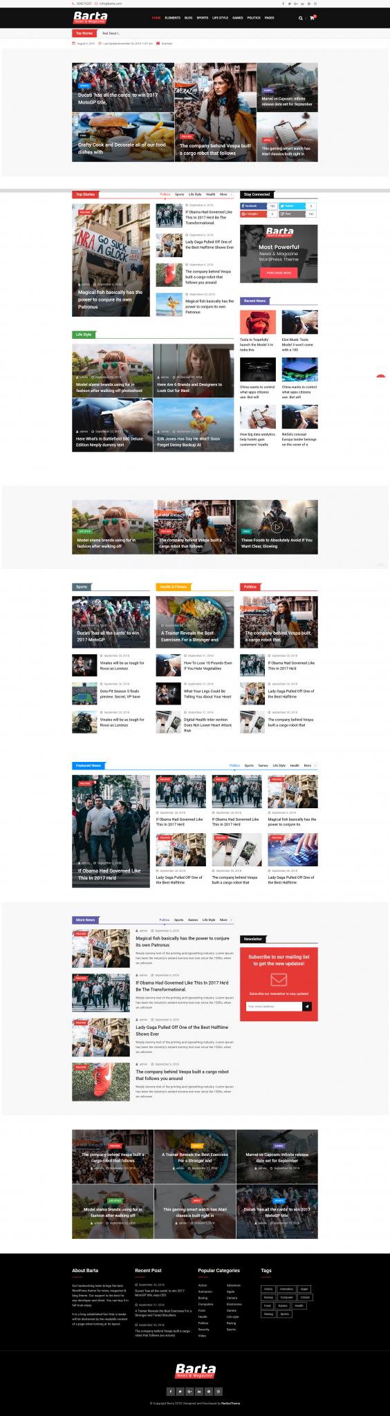 Mẫu web tin tức Barta