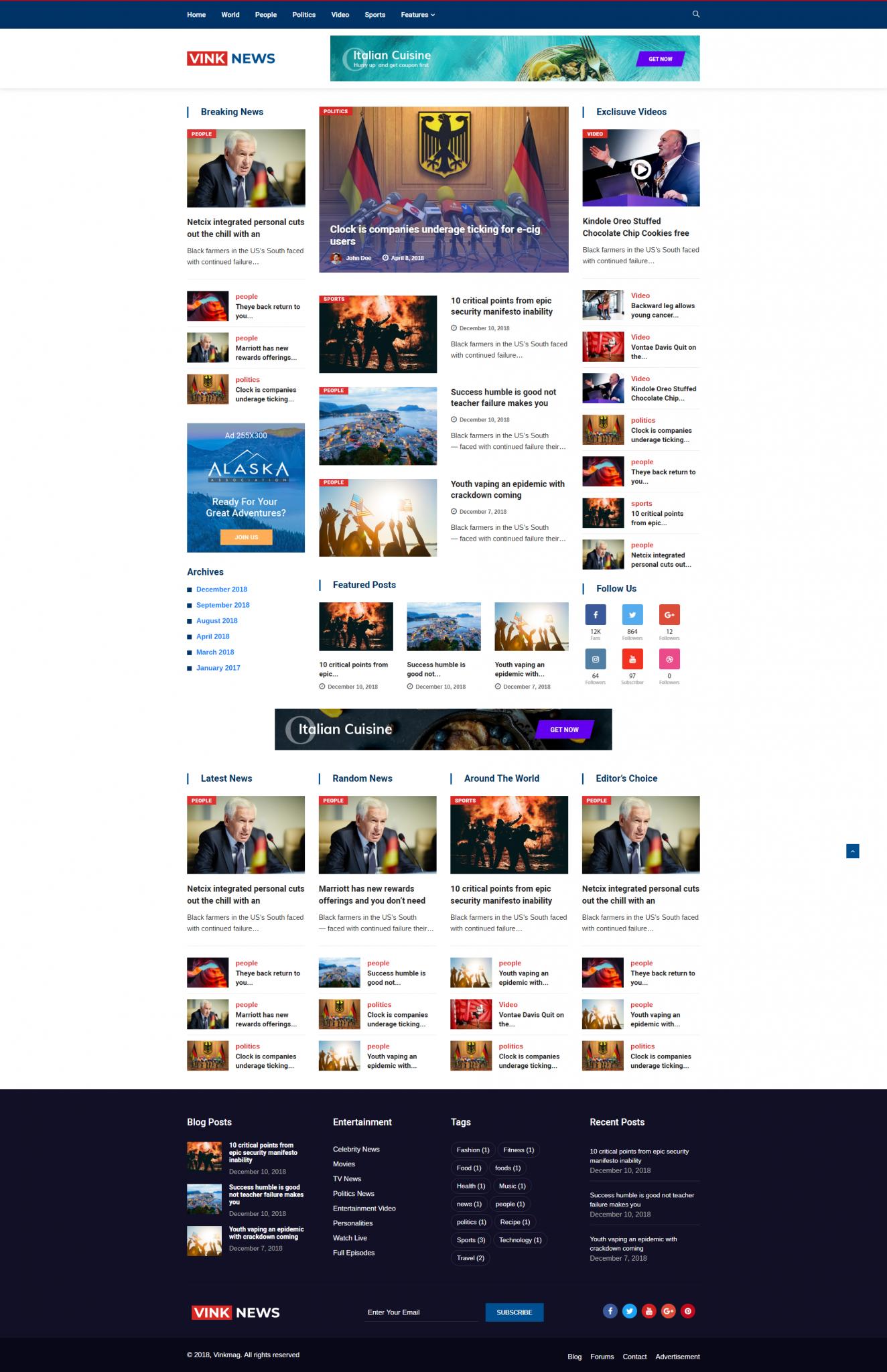Mẫu web tin tức Vink news