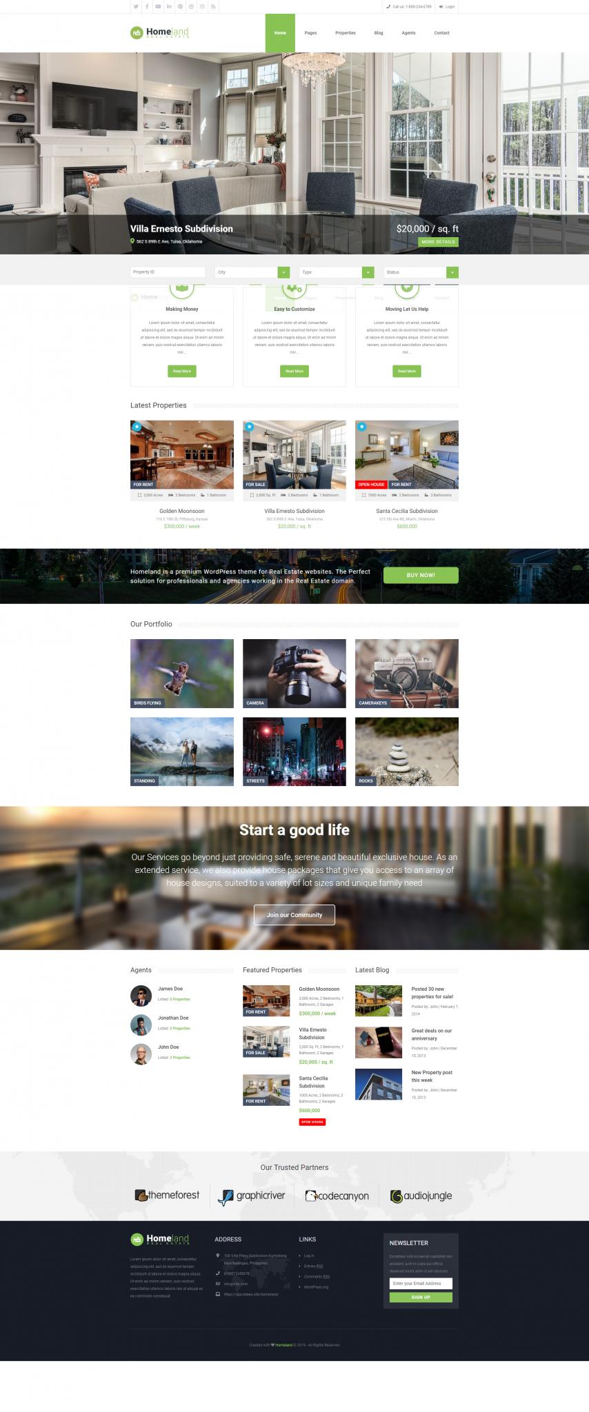 Mẫu web bất động sản Homeland
