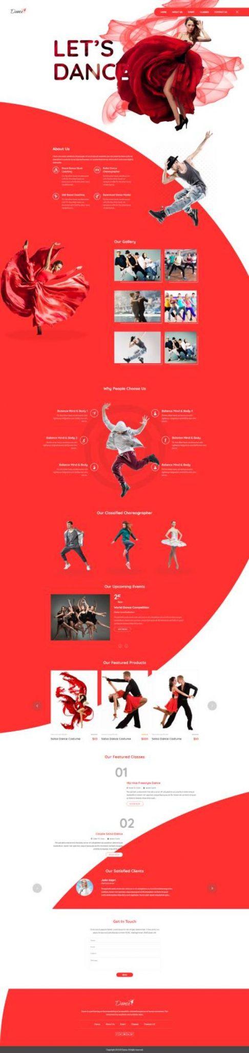 GD0723 – Mẫu Website Dạy Nhảy Dancing Academy